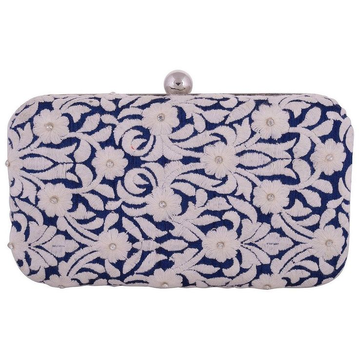 Ladies Girl Blue And White Partywear Wedding Club Evening Clutch Box Handcrafted #Unbranded #Clutch