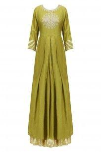 Olive Green Thread Embroidered Kurta and Skirt Set #rajhbybaninsheena #festiveseason #shopnow #ppus #happyshopping
