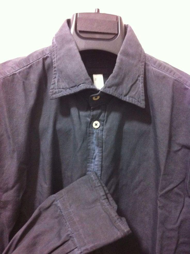MASSIMO ALBA Italy urban legend dark shadow Shirt,L slim~ M/50 classic NWT395  #MassimoAlba #ButtonFront