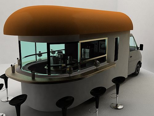 Very interesting mobile coffee shop or cafe.