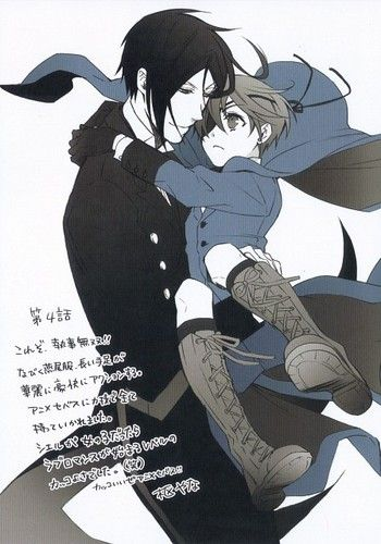 I donno what the writing says. But I don't ship them. I just think Ciel is so damn cute when anyone carries him like that.
