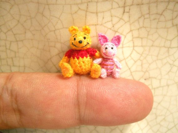 Pooh Bear and Pink Piglet - Micro Crochet Miniature Winnie The Pooh With Piglet - Made To Order on Etsy, $210.00