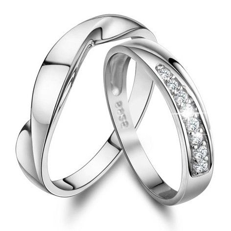 Personalized Name His and Her Promise Ring Sets Sterling Silver