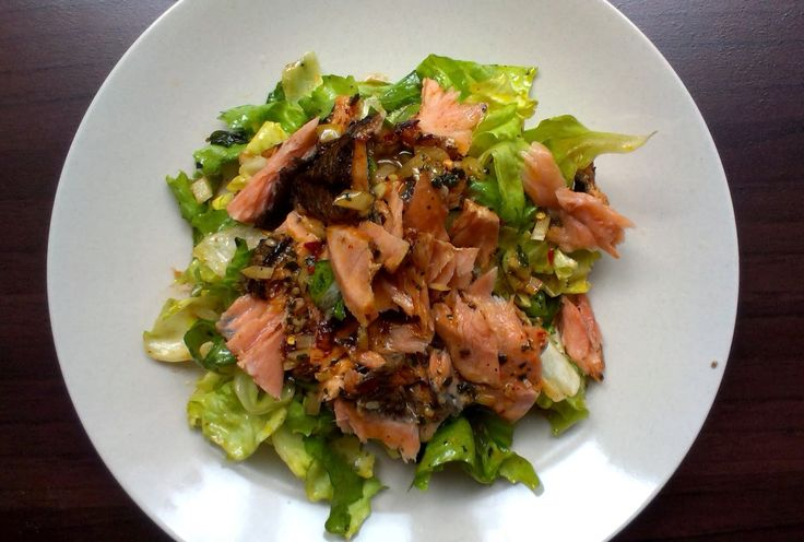 Grilled salmon salad with thai dressing (brown sugar, lime, fish sauce, fresh garlic and ginger, and lots of fresh coriander)