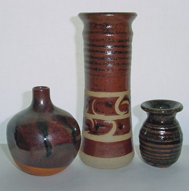 SMALL SET of 3 Modern JAPANESE Pottery VASES 1960s Collection MASHIKO has MARK