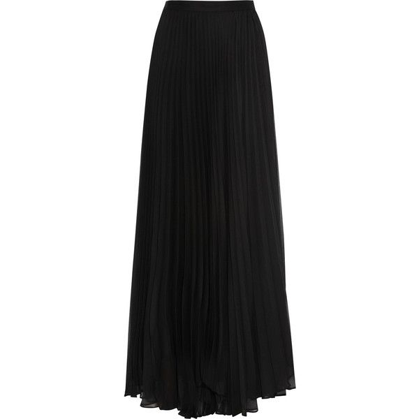 Alice + Olivia Shannon pleated chiffon maxi skirt (620 BRL) ❤ liked on Polyvore featuring skirts, saias, bottoms, maxi skirts, faldas, black, long maxi skirts, long pleated skirt, floor length skirts and chiffon skirt