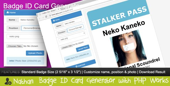 Badge ID Card Generator . The Nathan Badge ID Card Generator allows you to create customizable icon from Bootstrap Glyphicon Components and downloadable icon, work in localhost or web hosting (IPV6