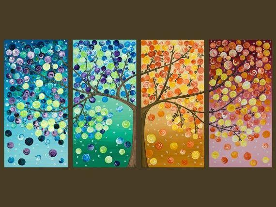tree four seasons painting - Bing Images