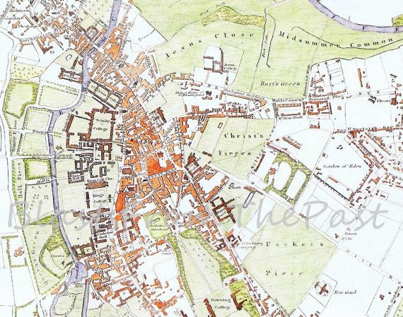 Vintage CAMBRIDGE MAP c.1830 Perfect for by BlastsFromThePast