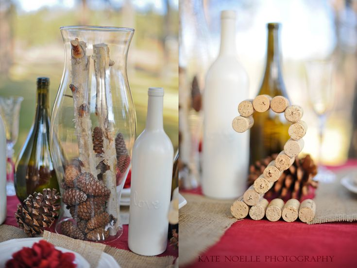 Wine cork table number and painted wine bottle for Painted wine bottle wedding centerpieces