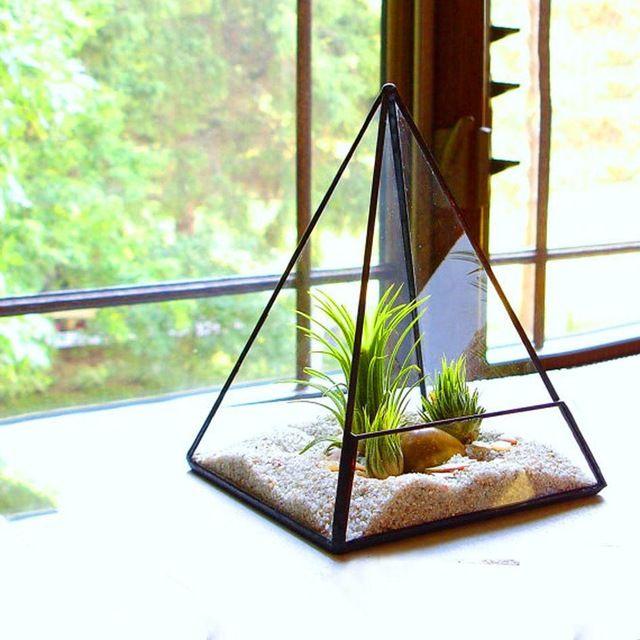 Lâmpada de Tabela moderna Dodecaedro Caixa Terrário Suculenta Terrário De Vidro Vasos de Flores Bonsai Flor Pote Plantador de Pirâmide Geométrica