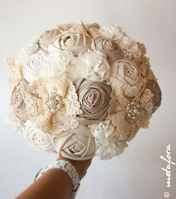 Fabric Bouquet Vintage Bouquet Rustic Bouquet Unique by feltdaisy -- this will be mine. I hate the thought of buying a real flower bouquet bc it just dies. :/