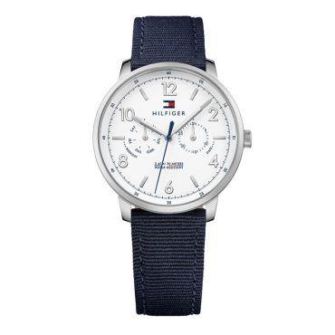 1791358 Ανδρικό ρολόι TOMMY HILFIGER Will με λευκό καντράν & μπλε λουρί από ύφασμα| Ρολόγια TOMMY HILFIGER ΤΣΑΛΔΑΡΗΣ στο Χαλάνδρι #Tommy #Hilfiger #Will #υφασμα #ρολοι