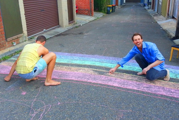 DIY rainbow crossing in Commonwealth Lane, Surry Hills after the demise of the official rainbow crossing on Oxford Street, Sydney
