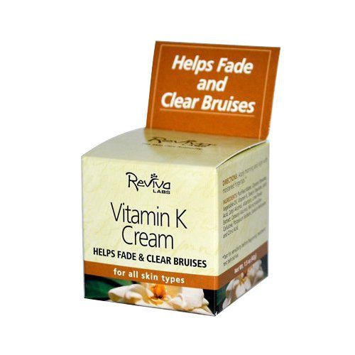 Product review for Reviva Labs Vitamin K Cream, For All Skin Types, 1.5-Ounce  - Vitamin K Cream by Reviva 1.5 oz Cream Vitamin K Cream 1.5 oz Cream This special Vitamin K formula helps improve the appearance of bruised skin. However you may be interested in Research from the Cosmeceutical Research Institute in Nashville TN that affirms Vitamin K in the proper topical...