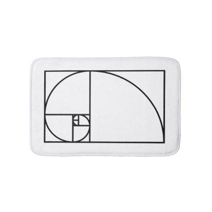 Fibonacci golden ratio - unique mathematical art bath mat - cyo diy customize unique design gift idea