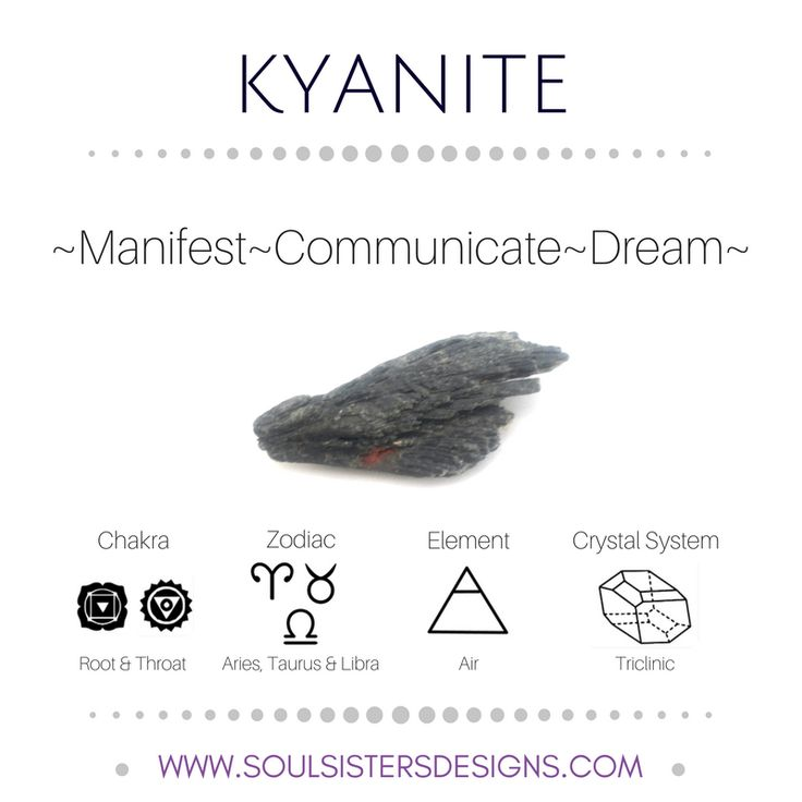 Metaphysical Healing Properties of Kyanite, including associated Chakra, Zodiac and Element, along with Crystal System/Lattice to assist you in setting up a Crystal Grid. Go to https://www.soulsistersdesigns.com/kyanite to learn more!