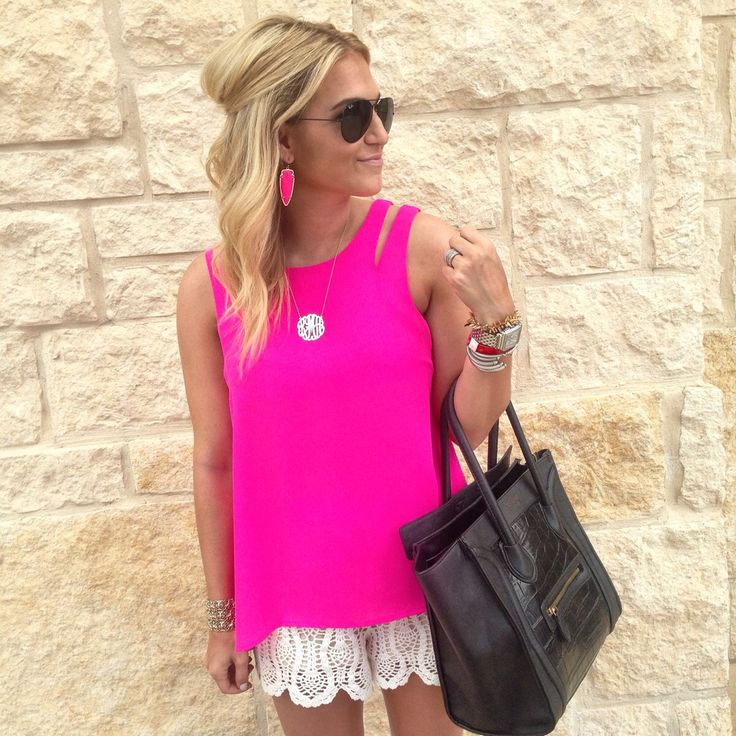 hot pink double strap tank - white lace shorts