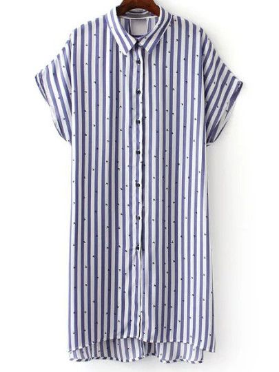 Синее асимметричное полосатое платье-рубашка