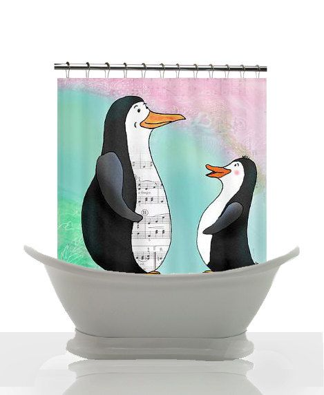 Artistic Shower Curtain  Penguin Singing by ArtfullyFeathered, $60.00. I mean come on...CUTE!