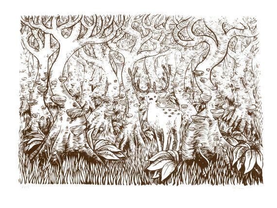 Cervi in una foresta con schermo occhi stampa marrone di zyzanna