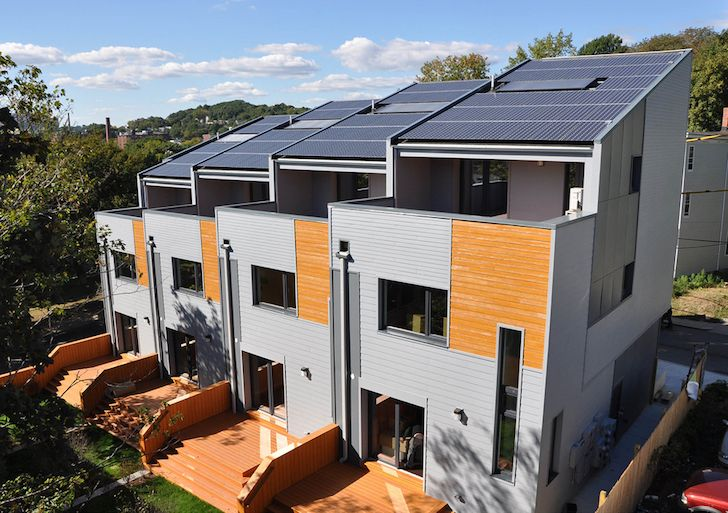 Interface Studio Architects completed the LEED Platinum Roxbury E+ townhouses, an energy-positive development in Boston.