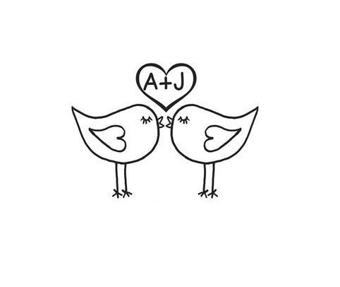 Custom Cute Love Birds Kissing Mounted Rubber Stamp Terbear
