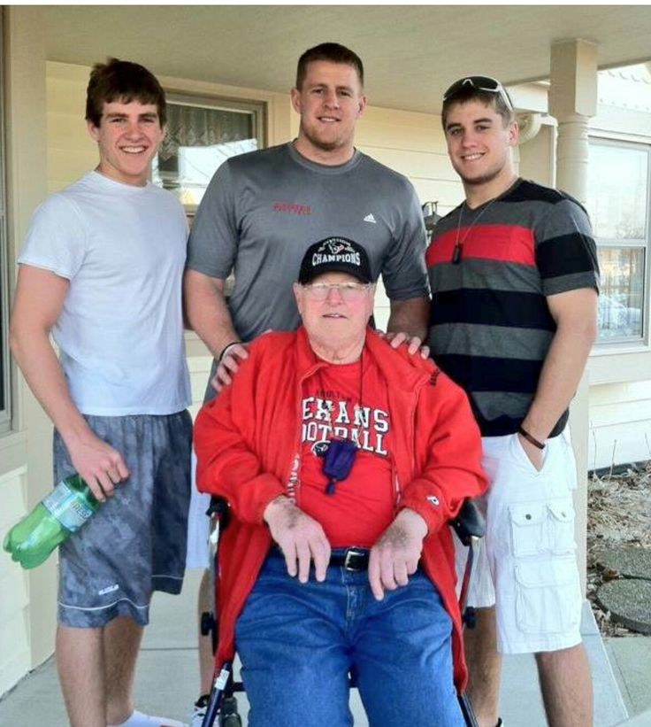 JJ Watt Foundation Twitter - 7.13.17 - Watt brothers and their biggest supporter, Grandpa Watt - #Family #HuntGreatness #DreamBigWorkHard #JustSomeKidsFromPewaukee #Justincredible