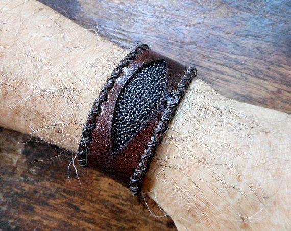 Cool Genuine 33 MM Wide Brown Leather Evil Eye Bracelet