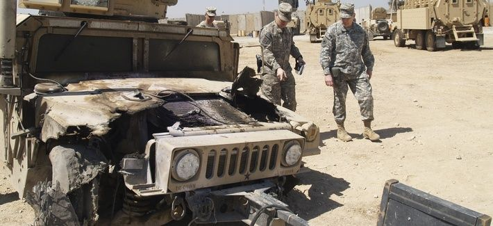 How Many US Troops Were Killed By Iranian IEDs in Iraq? http://www.defenseone.com/news/2015/09/how-many-us-troops-were-killed-iranian-ieds-iraq/120524/ via @defenseone A humvee damaged by an EFP is looked over at the U.S. Army Patrol Base of the 2-28 Infantry in Al Hillah, 62 miles south of Baghdad.