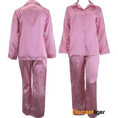 Cute girly look, pink and white striped satin pyjamas pj's, great for those winter nights. Wide cuffs on both pants and shirt. Beautifully made, you won't want to take these off.