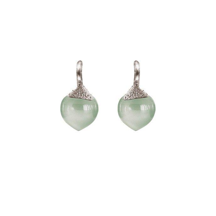 Dew Drops earrings in 18K white gold with aquamarine - Earrings | OLE LYNGGAARD COPENHAGEN