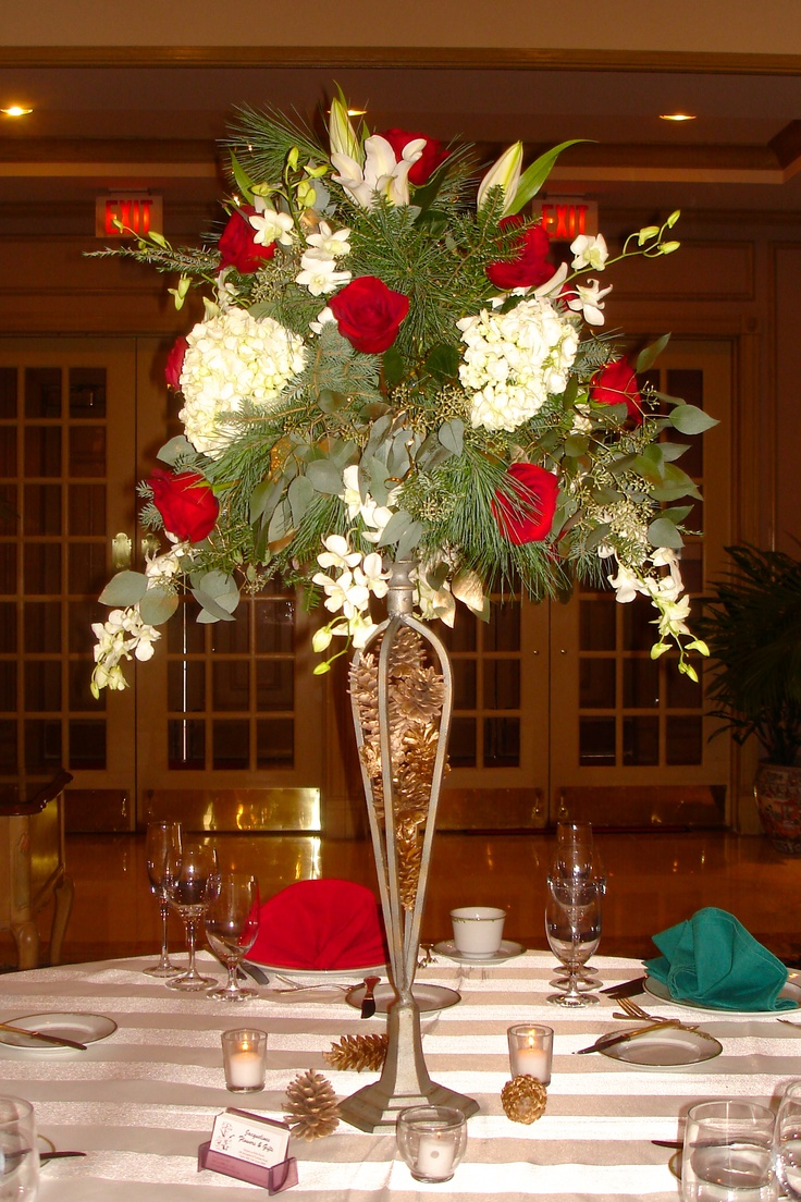 Stunning winter wedding centerpiece red and white