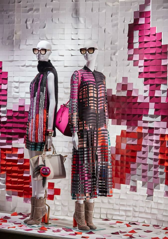 The Fendi PreFall15 collection displayed in the new boutique window theme in London.