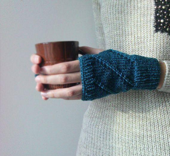 Hand Knit Fingerless Gloves in Petroleum Green  Arm Warmers