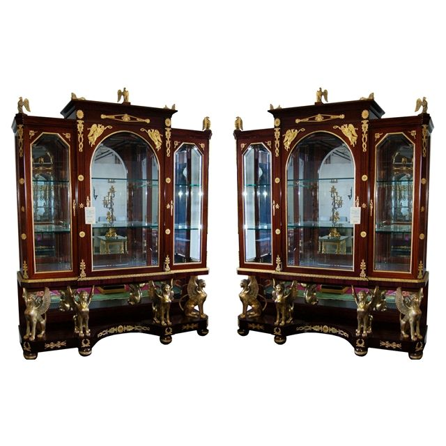 French Empire Vitrines/ Cabinets Rare Antique Pair in Perfect Condition  USD) by AntiquarianTraders - 129 Best Antique Cabinets Images On Pinterest Antique Cabinets