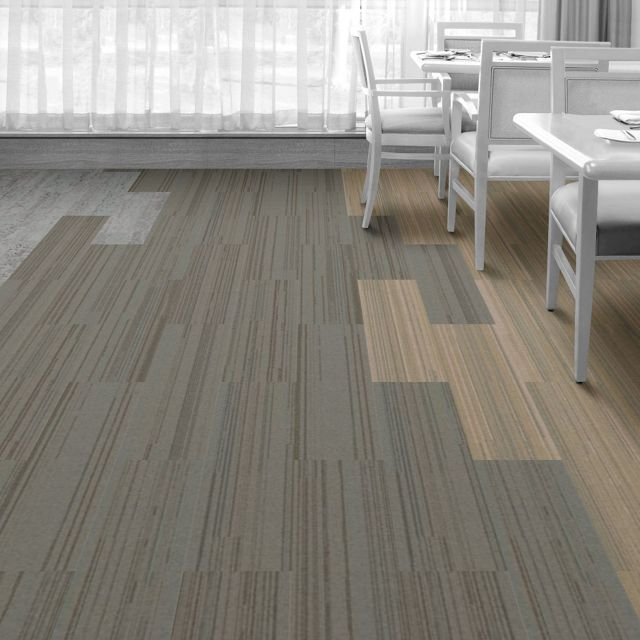 Interface Floor Design  | NF400: Felt, HN810: Limestone, NF400: Linen |  Find inspiration for your next interior design project with floors composed of modular carpet tiles from Interface