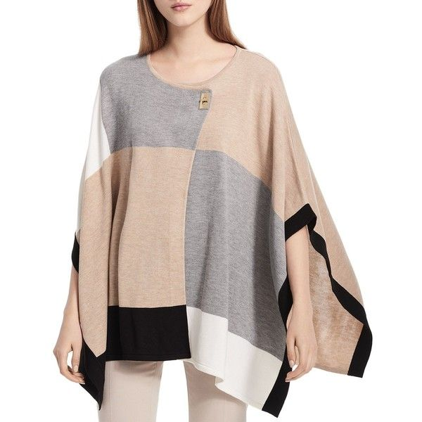 Calvin Klein Color-Blocked Poncho ($77) ❤ liked on Polyvore featuring outerwear, heather latte, pink poncho, calvin klein, style poncho and color block poncho