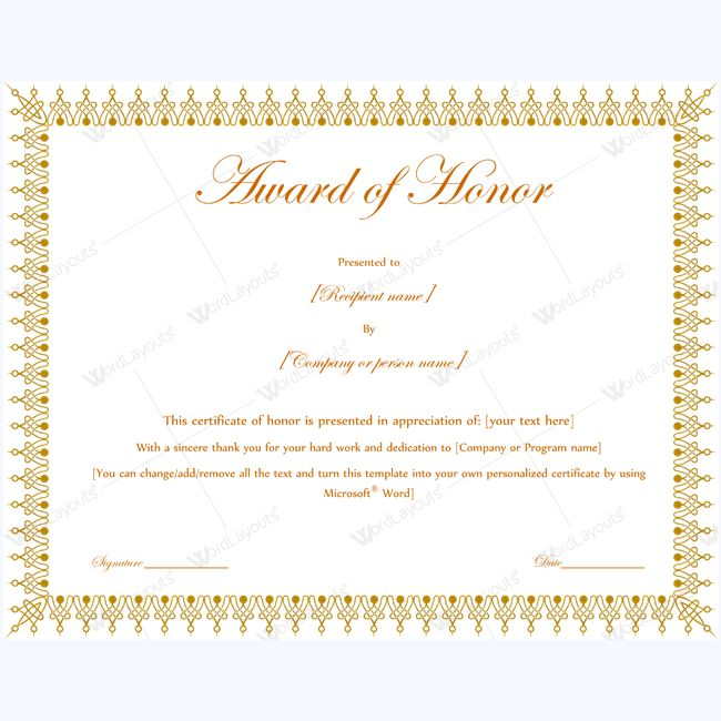 The 15 best award of honor certificate templates images on Pinterest - Award Paper Template