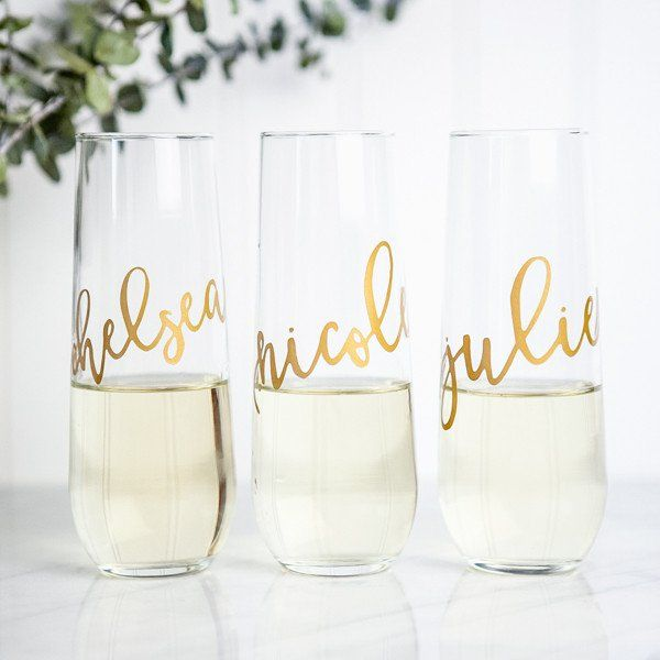 Personalized Stemless Flutes #Bachelorette #bridal-shower-favors #Bride-to-Be