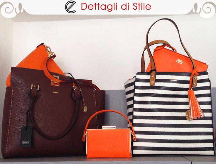 #Borsa doppia in ecopelle, esterno cioccolato e interno arancio #Seventy;  #Clutch arancio con dettagli oro #LesCopains; #Shopper a righe bianco/nero reversibile con #pochette arancio #LesCopains  #moda #fashion #bags #shopping #glamour #eldaelegance #eldastyle