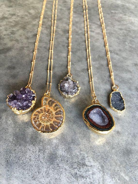 Geode Half – Amethyst – Ammonite – Druzy Necklace