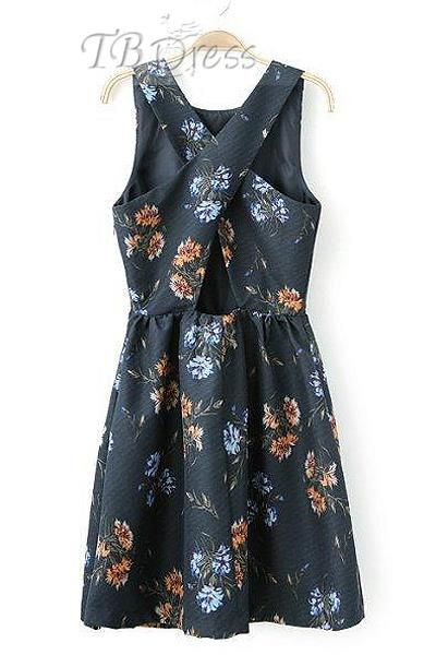 New Arrival High Quality Sleeveless Print Criss-Cross Back Dress. Get thrilling discounts up to 80% Off at TBDress using Coupon and Promo Codes.