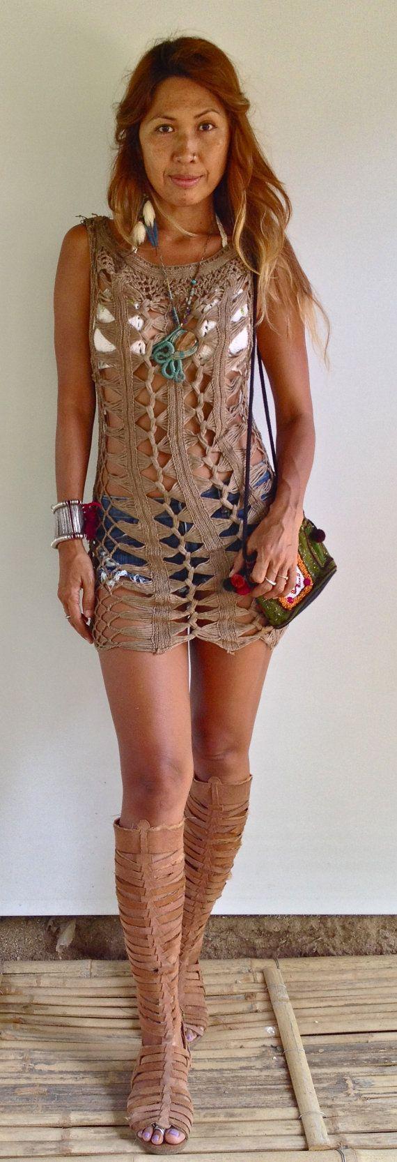 Brown Crochet Dress beach dress by SpellMaya on Etsy