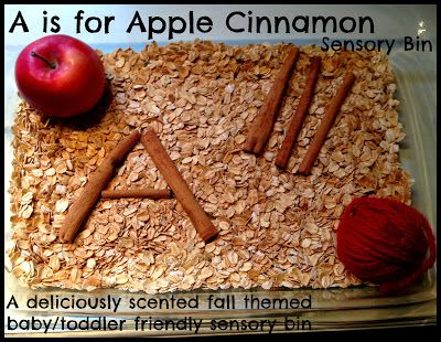 A is for Apple Cinnamon Sensory Bin - a deliciously scented fall themed baby/toddler friendly sensory bin from House of Burke