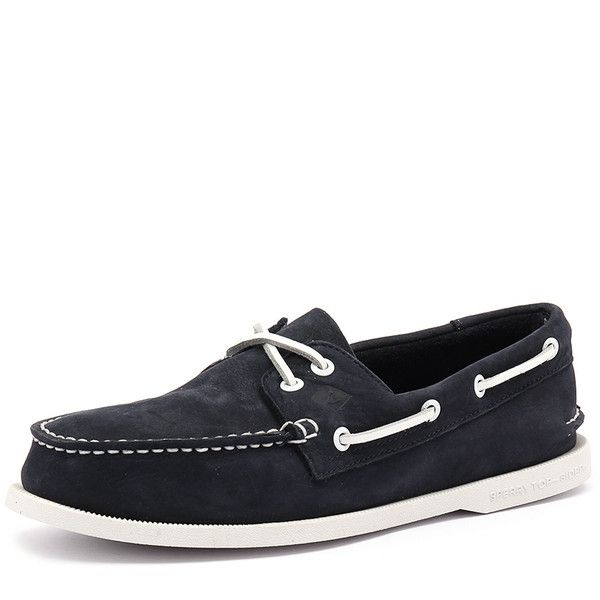 Sperry A/O 2 Eye Washable Navy ($165) ❤ liked on Polyvore featuring men's fashion, men's shoes, men's loafers, navy blue mens shoes, mens boat shoes, sperry top sider mens shoes, mens moccasins shoes and sperry mens shoes
