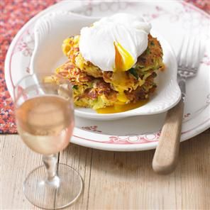 Vegetable fritters with poached eggs Recipe | delicious. Magazine free recipes
