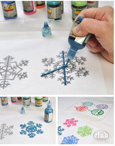 100 Days of Christmas – Day 55 - Visit Chica Circle to get instructions and free printables for making your own window clings with the kids! All you need is puffy paint!