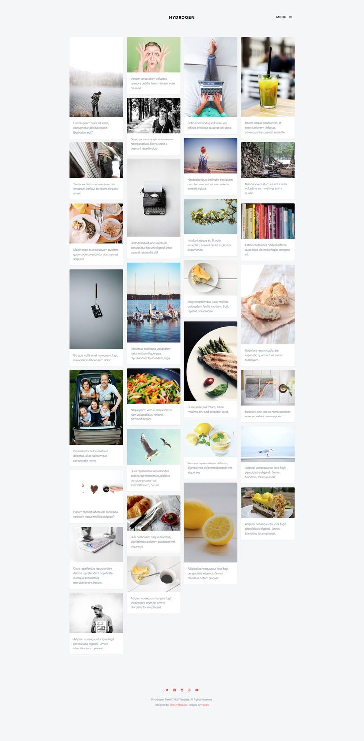 Hydrogen is a free HTML5 Bootstrap Masonry template which is good for creative and portfolio websites. This template uses  Salvattore which is a jQuery Masonry alternative grid system. Hydrogen masonry template is fully responsive and built with Bootstrap 3 framework