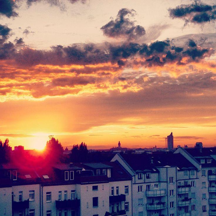 leipzig. rooftop. sunset.